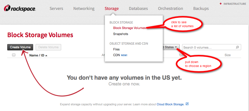 If you have no Cloud Block Storage volumes, the Cloud Control Panel shows you how to create one.