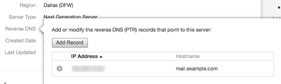 After adding a reverse DNS record to a server, click 1 Record to confirm the association between the domain name and the server's IP address.