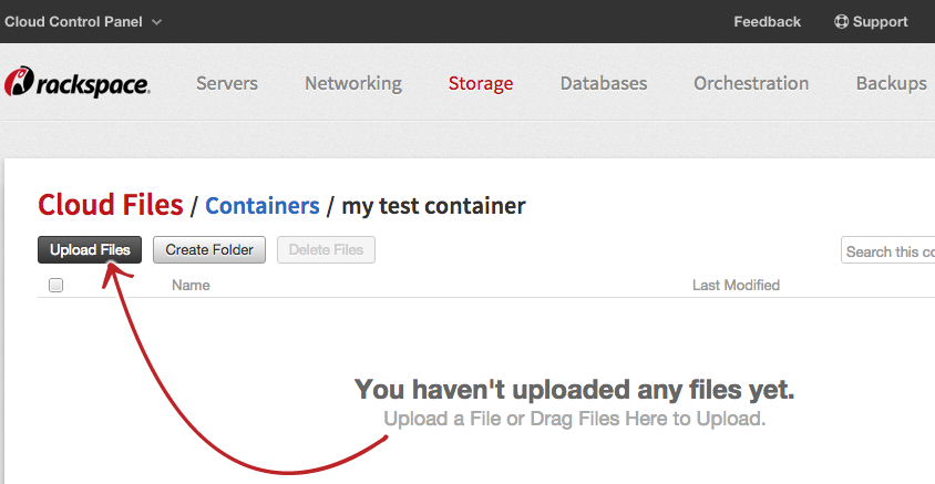 If you have no Cloud files objects, the Cloud Control Panel shows you how to upload one.
