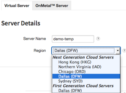 Choose a region for the server before choosing any other aspect of its configuration.