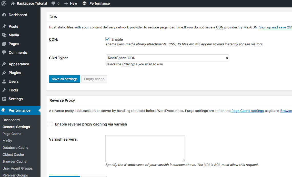 select the enable check box and choose rackspace cdn as the cdn type. click save all settings
