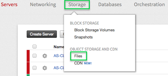 To see your Cloud Files information, click Storage and then click Files.