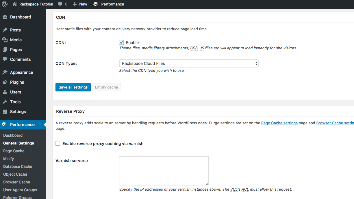 click the enable check box and choose rackspace cloud files as the cdn type