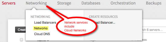 The Networking group includes Cloud Networks.