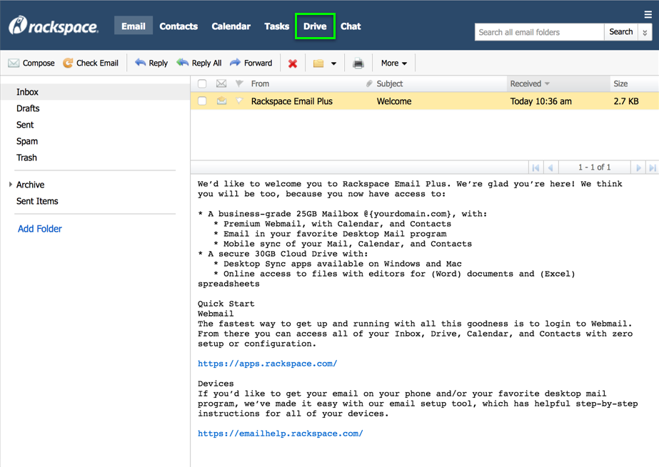 Cloud Drive link in webmail