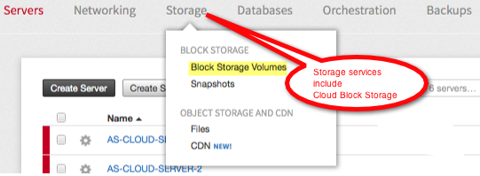 The Storage group includes Cloud Block Storage.